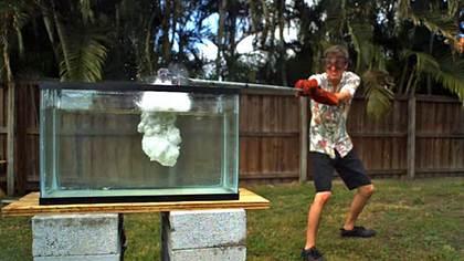Das passiert, wenn man Flüssigsalz in ein Aquarium schüttet - Foto: YouTube/TheBackyardScientist