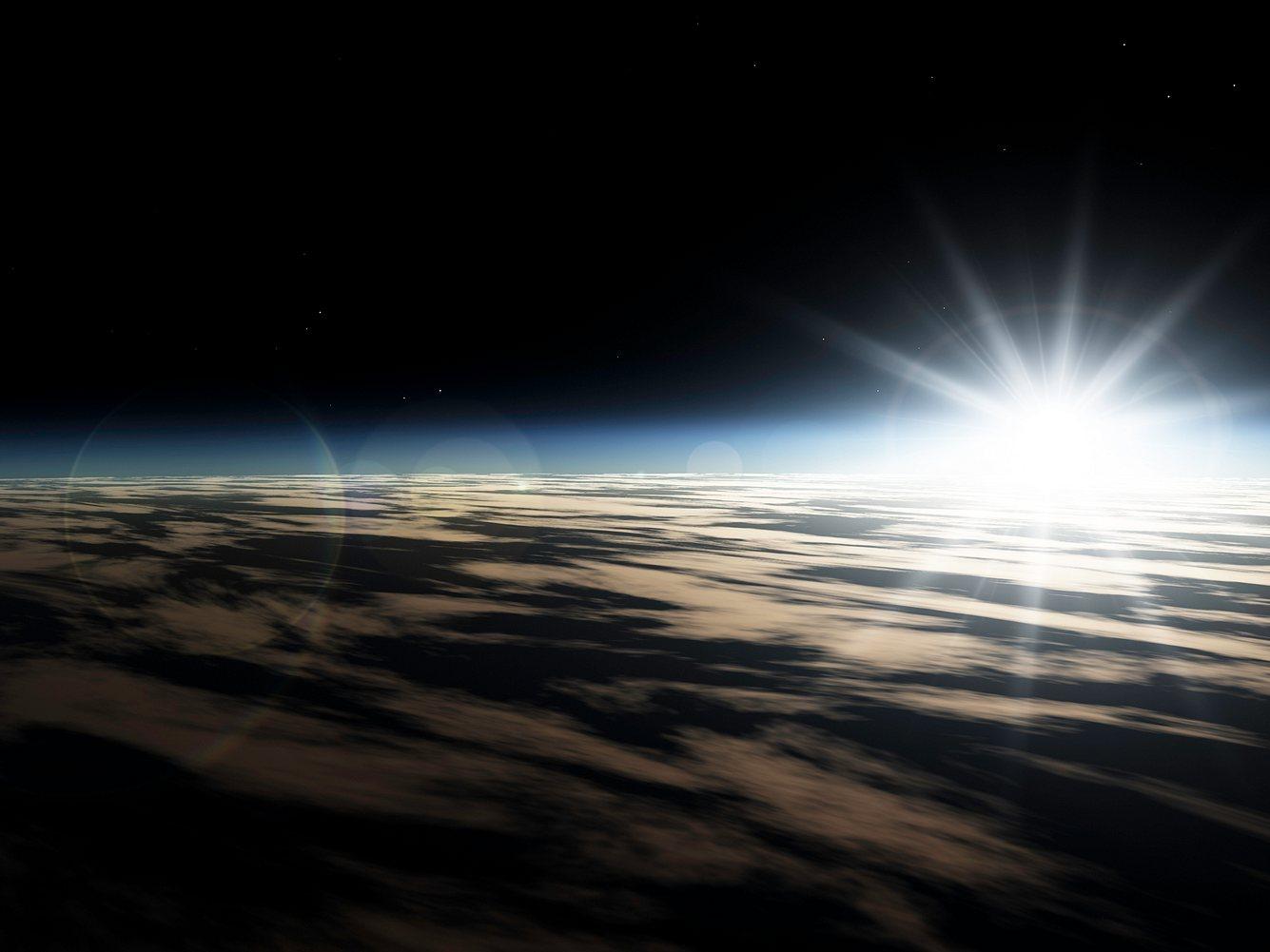Sonnenaufgang aus Weltraumperspektive