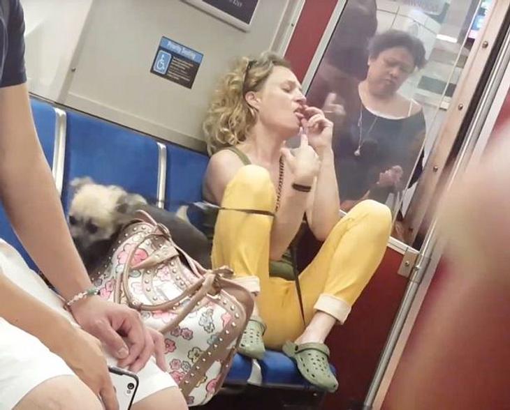 Eine Frau beißt ihren Hund in einer U-Bahn