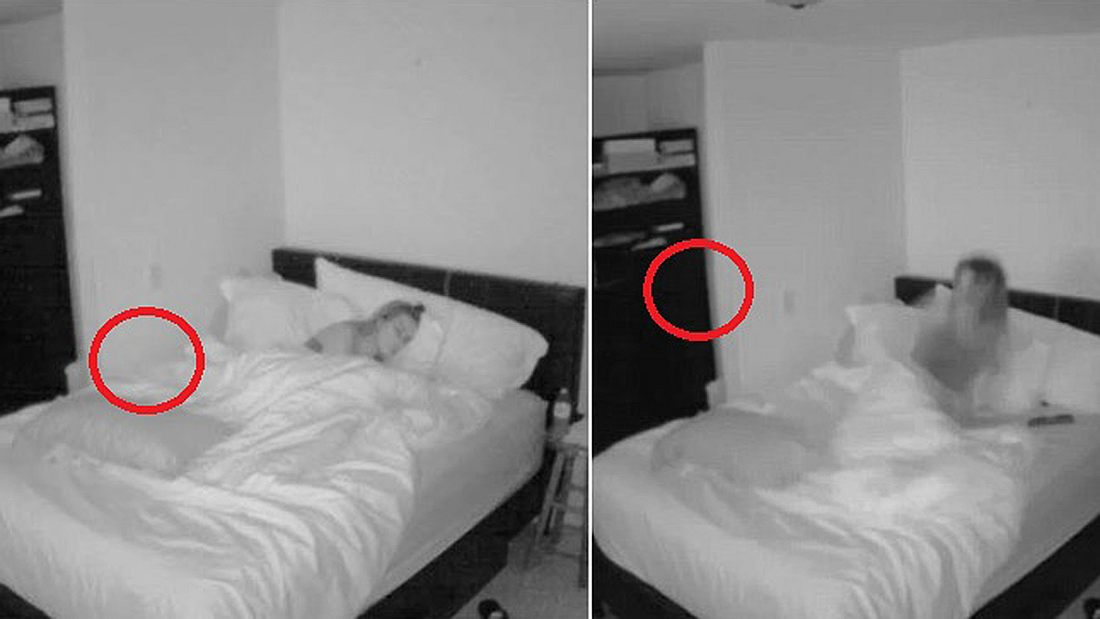 Ist hier zu sehen, wie ein Poltergeist eine junge Frau aus dem Schlaf reißt?