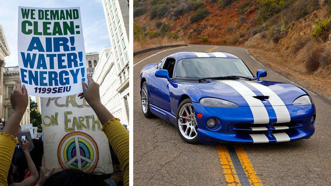 Ist der Friday for Future oder for Hubraum? - Foto: Getty Images / Bill Tompkins / iStock / Hirkophoto (Collage Männersache)
