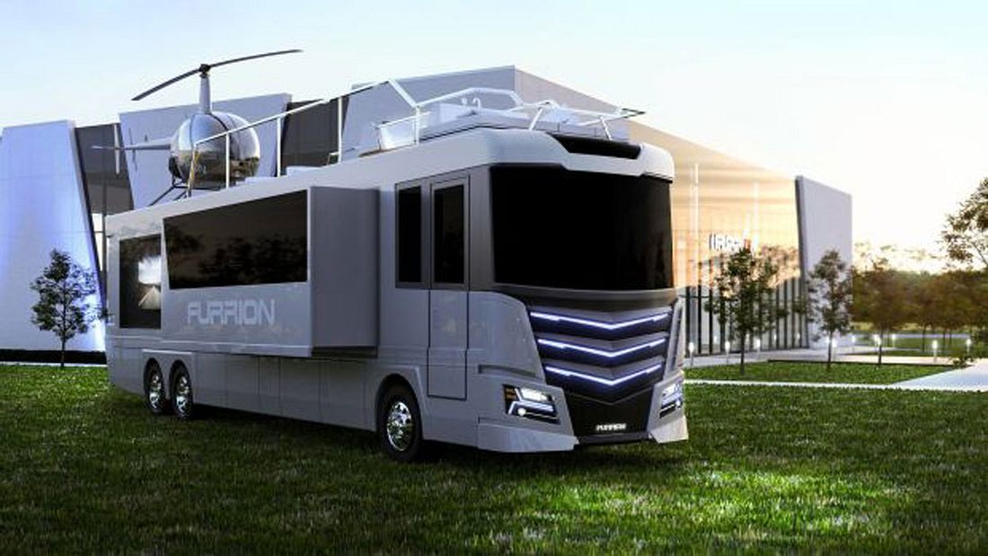 Luxus-Wohnmobil mit Whirlpool und Heli-Landeplatz: Furrion Elysium