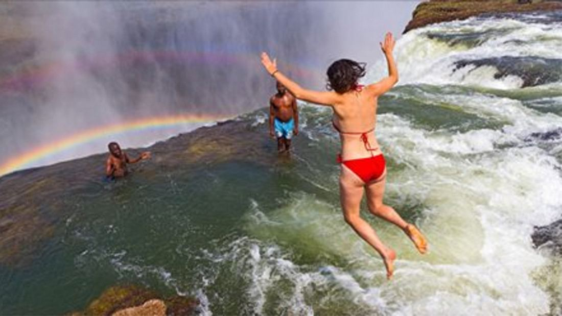 Der Devils Pool an den Victoriafällen in Sambia gilt als gefährlichster Pool der Welt