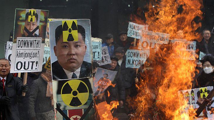 Proteste in Südkorea gegen den nordkoreanischen Machthaber Kim Jong-Un
