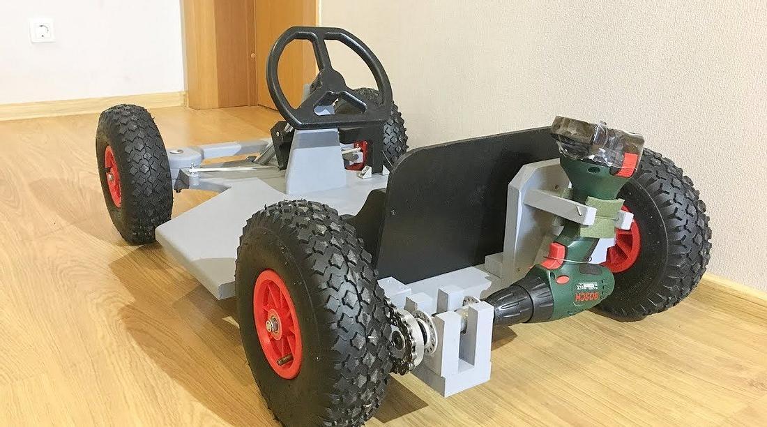 Go-Kart mit Akkubohrer-Motor