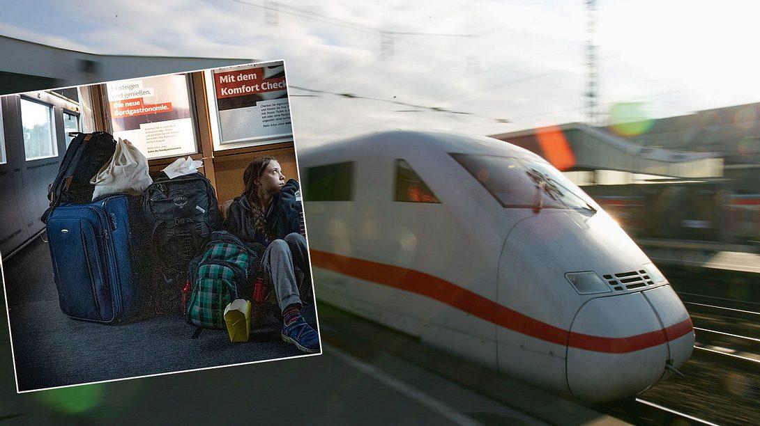 Greta Thunberg fährt ICE - Foto: GettyImages/Patrik Stollarz, Twitter/gretathunberg