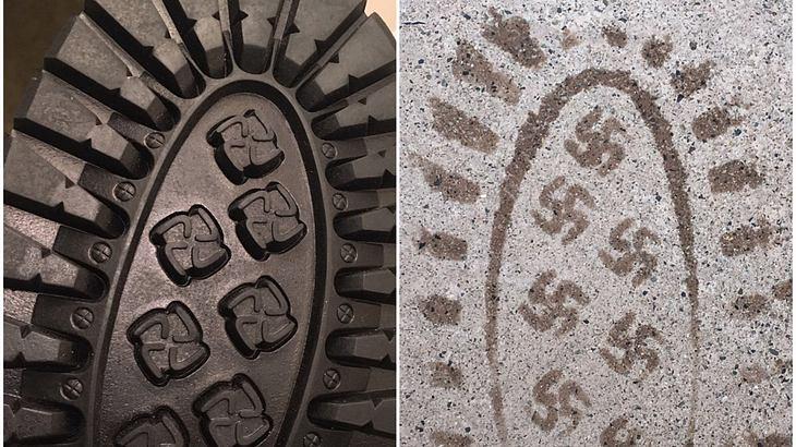 Fail! Schuhe mit Hakenkreuz-Profil