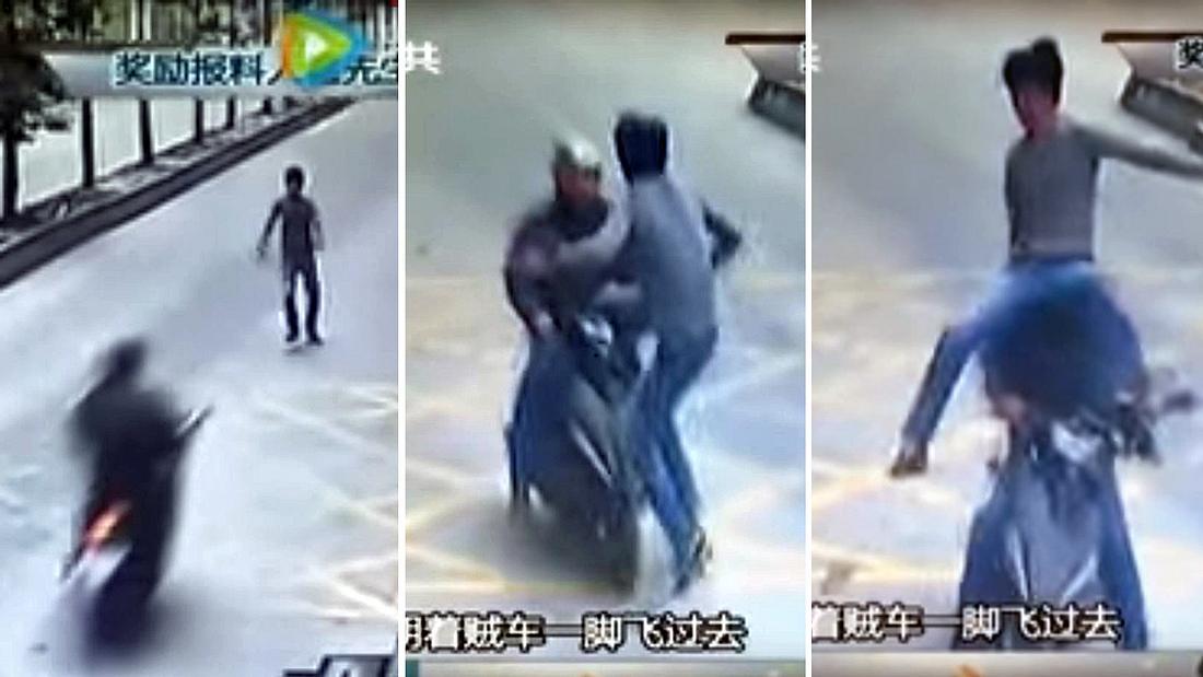 LKW-Fahrer Huo tritt den Dieb seines Smartphones per Kung-Fu-Kick von dessen roller