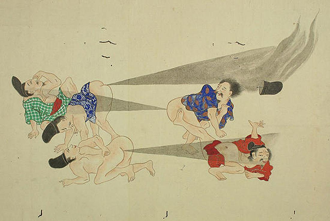 He-gassen ist japanische Kunst, die epische Furz-Kriege illustriert