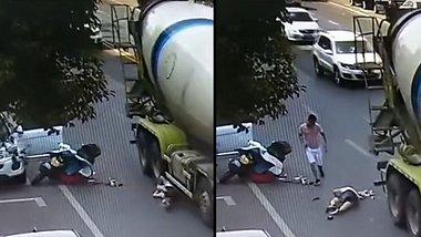 Frau wird von einem Betonmischer erwischt - Foto: YouTube /  innovative channel