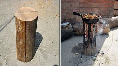 Outdoor-Hack: So baut man aus einem Holzscheit einen Herd - Foto: YouTube/Doogly