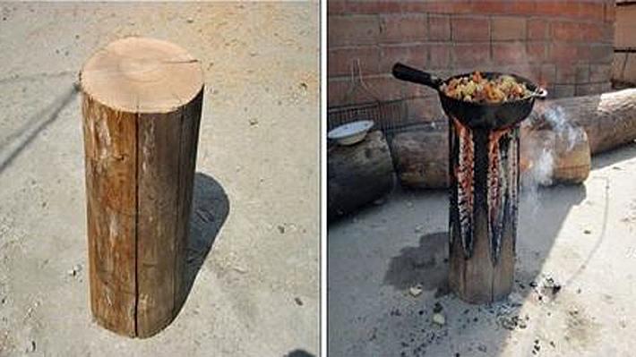 So machst du aus einem Holzscheit einen Herd