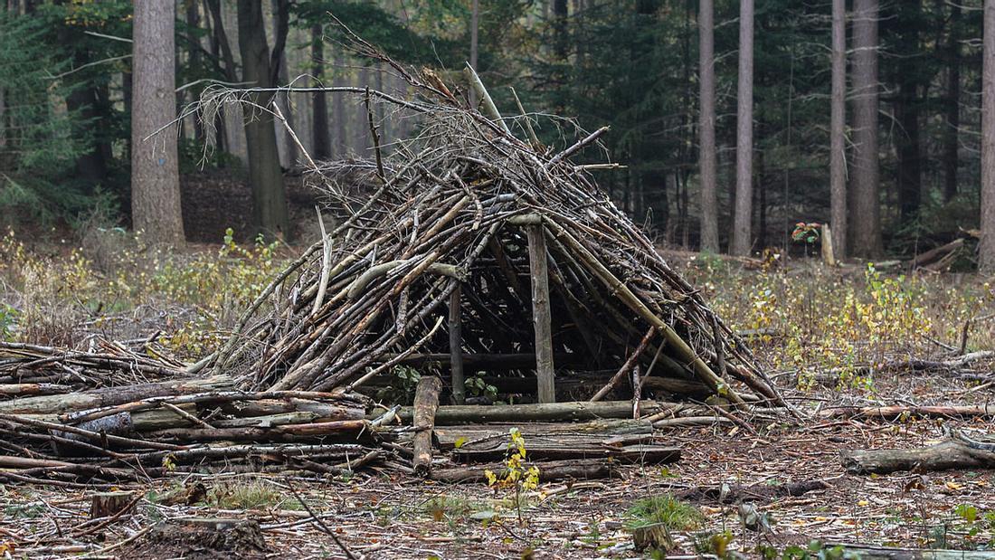 Hütte aus Ästen