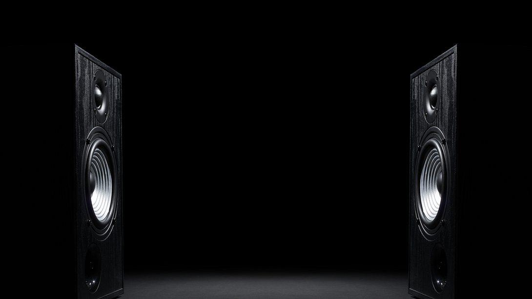 Zwei Soundlautsprecher auf schwarz - Foto: iStock/SvetaZi