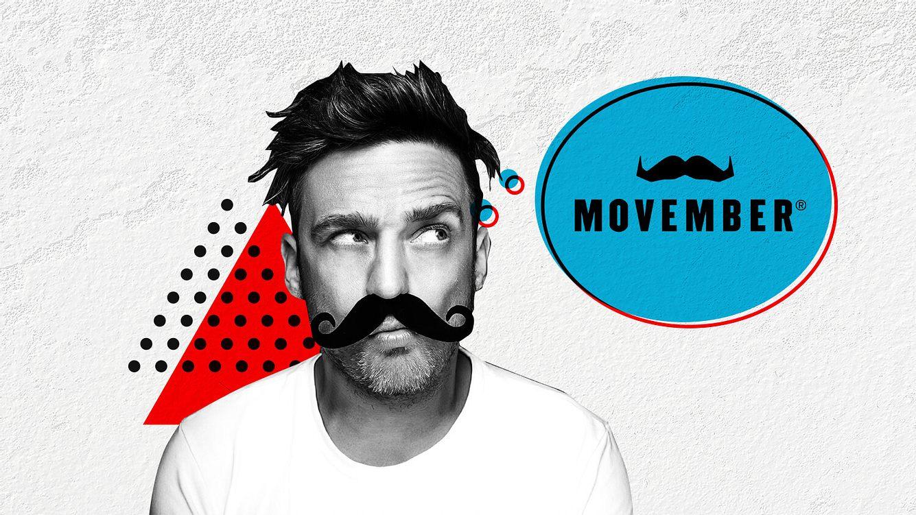 Mann mit Movember-Schnurrbart