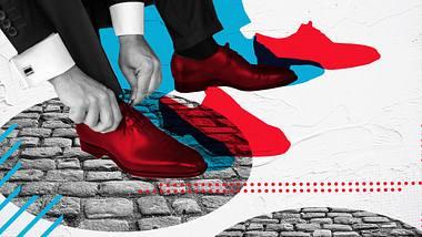 Die Schuhe müssen zum Anzug passen