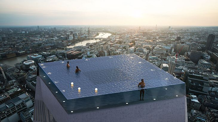 Geplanter 360-Grad-Infinity-Pool in London.