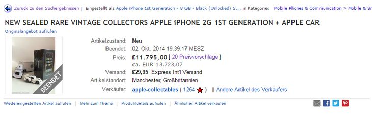 15.000 Euro verlangt ein eBayer für das iPhone der ersten Generation