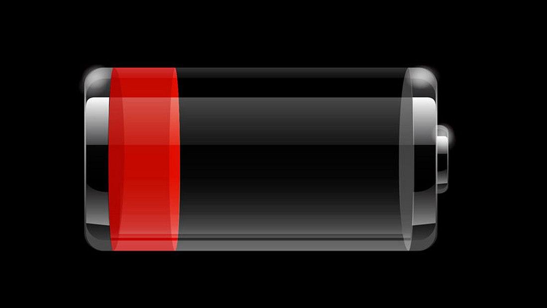 Die leere Akku-Anzeige eines iPhones