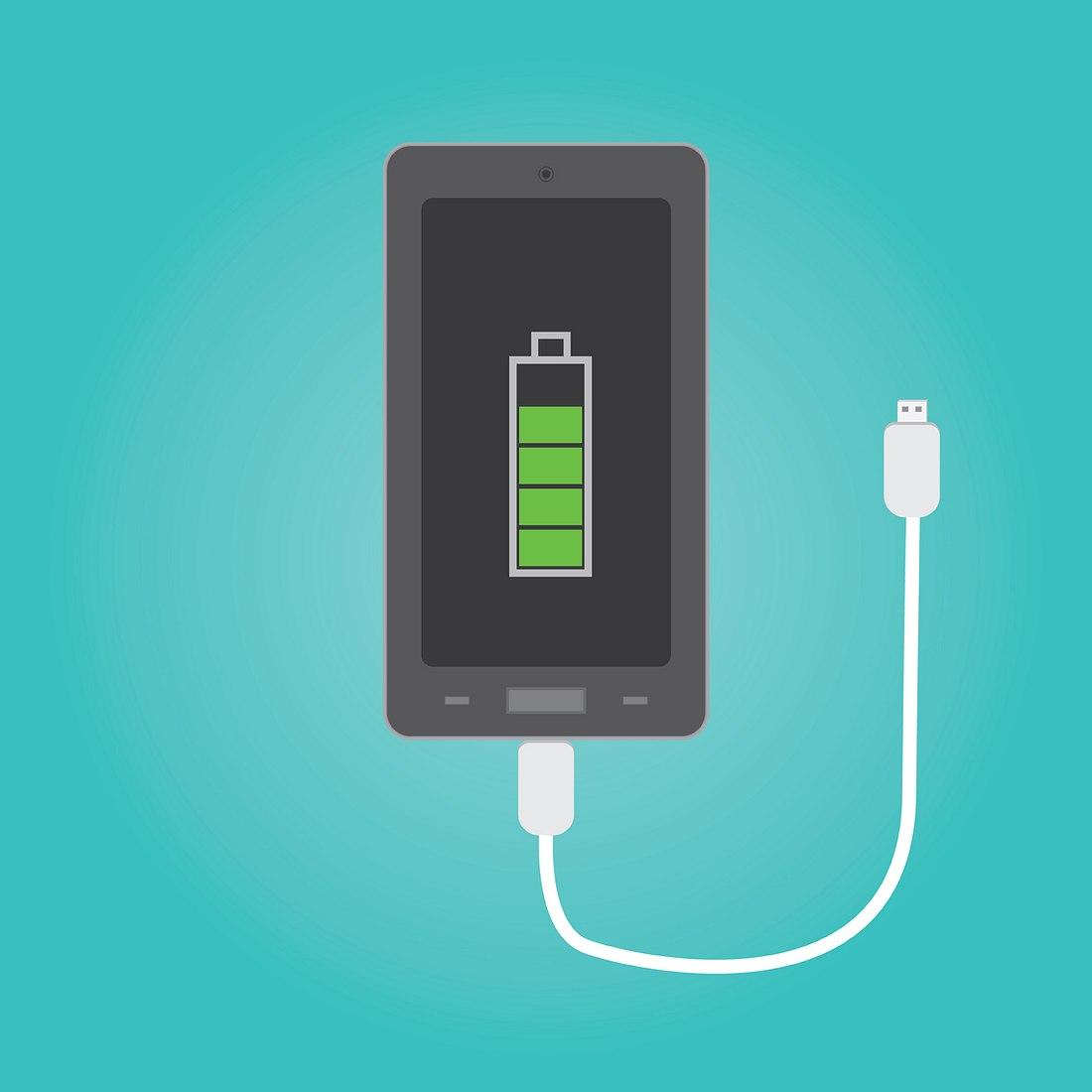 Ein iPhone, dessen Akku aufgeladen wird