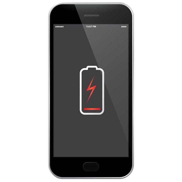 Ein iPhone mit niedrigem Akku