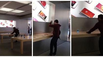 Gefilmt: Mann zerstört über 100 iPhones und Laptops im Apple-Store