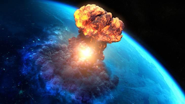 Die Explosion einer Wasserstoffbombe reicht bis hoch in die Stratosphäre