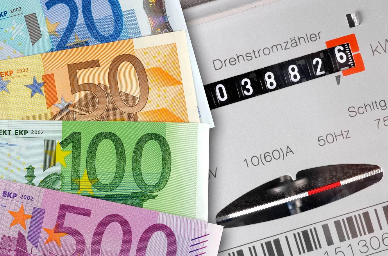 Geldscheine und Stromzähler