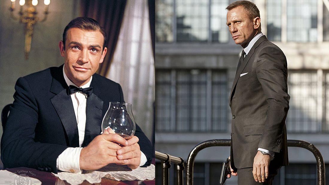 Sean Connery und Daniel Craig als James Bond
