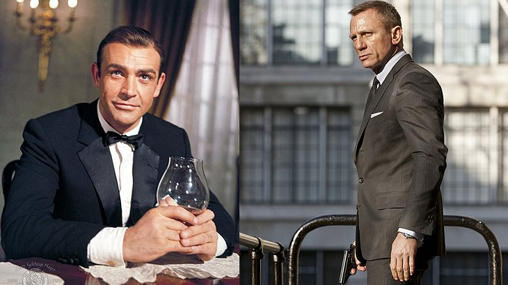 Sean Connery und Daniel Craig als James Bond