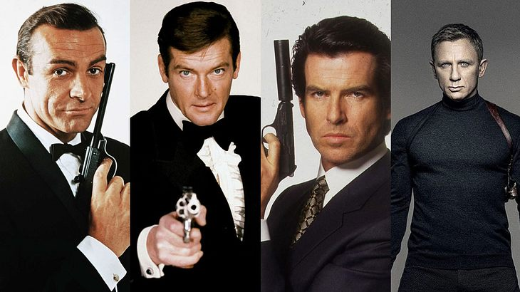 4 Bond-Darsteller: Sean Connery, Roger Moore, Pierce Brosnan, Daniel Craig