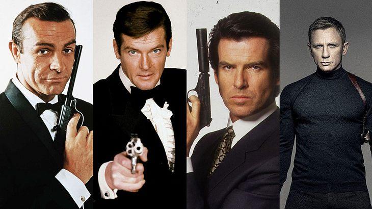 Sean Connery, Roger Moore, Pierce Brosnan, Daniel Craig (v.l.n.r.)