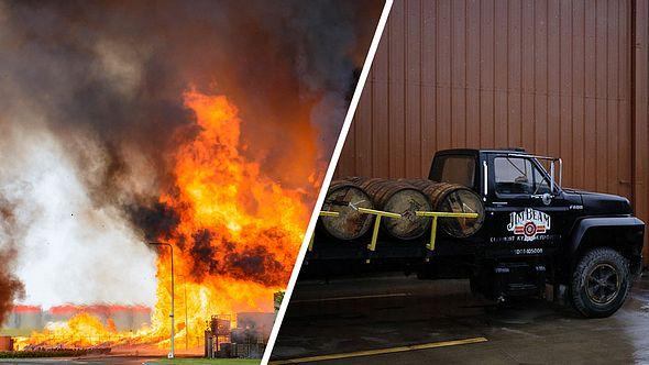 Lagerhalle mit Jim Beam brennt. - Foto: Getty Images / Luke Sharrett / iStock / Sjo (Collage Männersache)