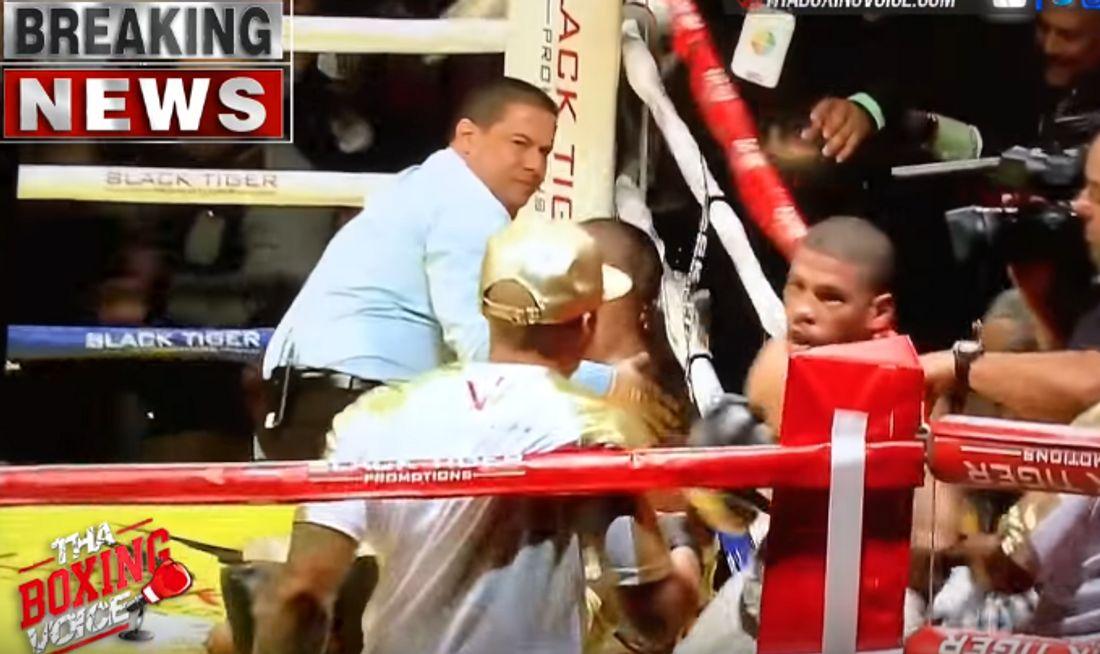 Nach dem Sieg flogen die Fäuste: Juan Manuel Lopez knöpft sich den Trainer seines Gegners vor