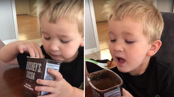 Junge isst Kakaopulver