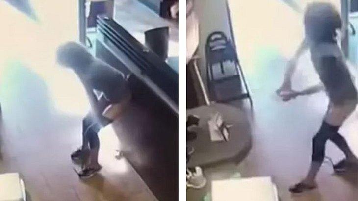 Die Frau verrichtet ihr Geschäft im Caffee