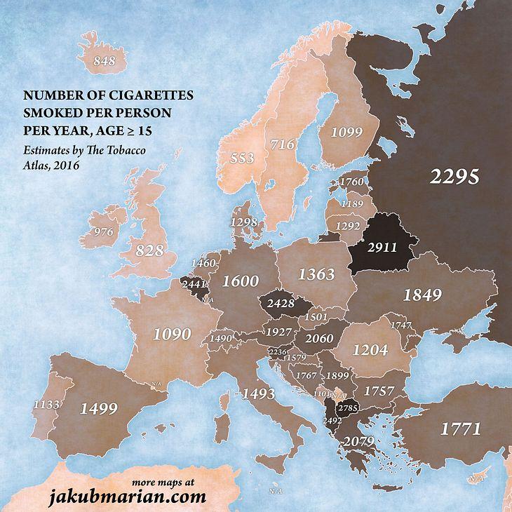 Gerauchte Zigaretten in Europa