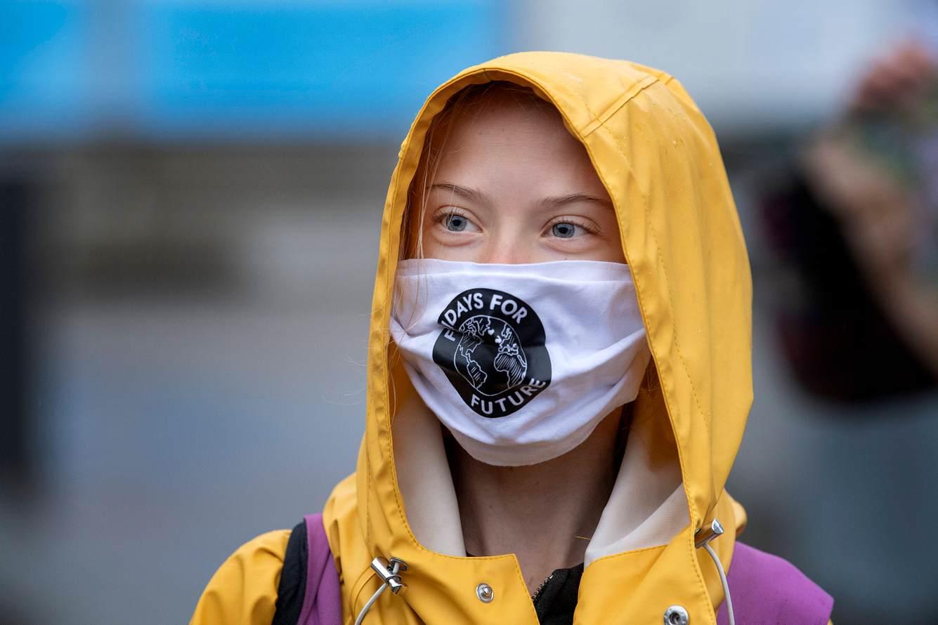 Greta Thunberg mit Schutzmaske