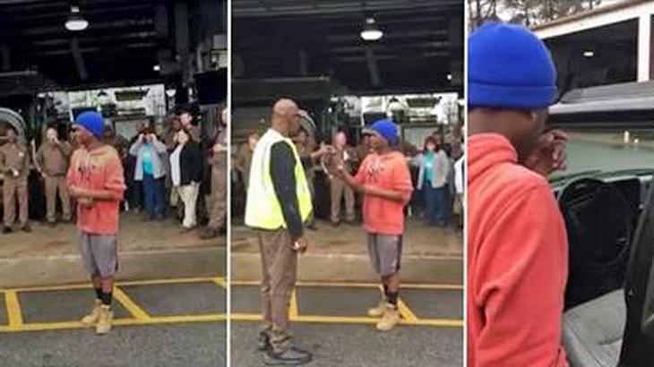 Diese UPS-Mitarbeiter kaufen ihrem 19-jährigen Kollegen einen Jeep, damit er nicht mehr täglich 16 Kilometer zur Arbeit laufen muss