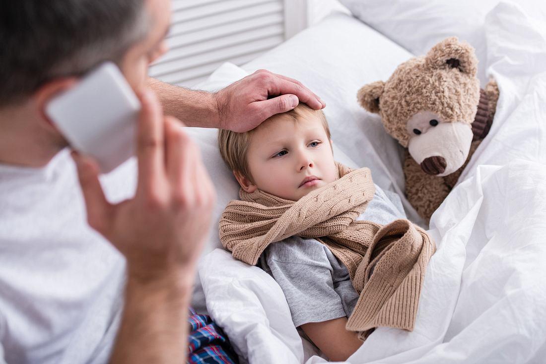 Kranke Kind im Bett