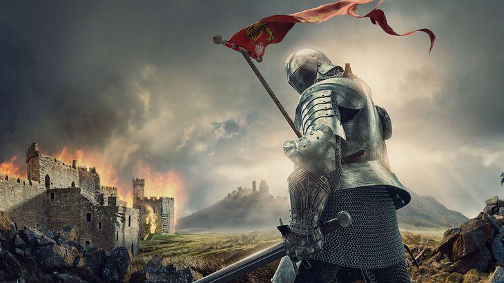 Ein Ritter vor einer Burg