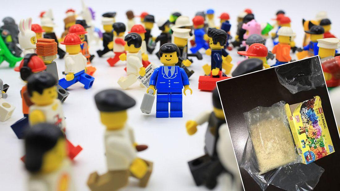 Brisanter Fund in Lego-Paket (Collage).