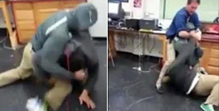Zwei Schüler prügeln sich, dann greift ihr Lehrer ein