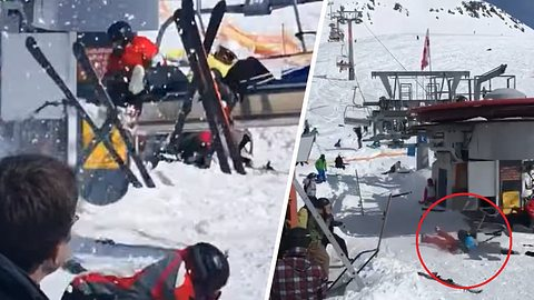 Schock-Video: Ski-Lift prügelt Fahrgäste ins Krankenhaus