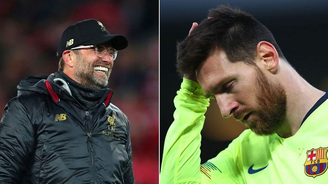 Jürgen Klopps FC Liverpool schlägt Messi und dessen FC Barcelona (Collage).