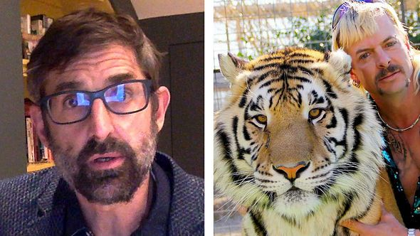 Louis Theroux und der Tiger King Joe Exotic nebst Tiger - Foto: Getty Images / British Podcast Awards / Netflix (Collage Männersache)