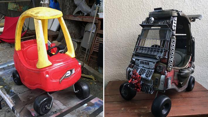 Vater macht aus altem Spielzeug Mad Max-Autos für seine Kinder