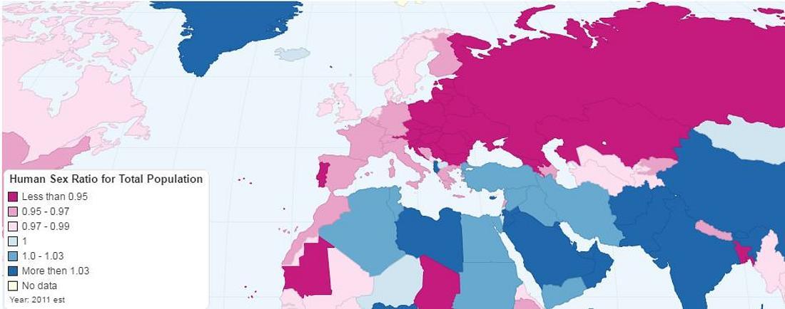 Die Geschlechterverteilung weltweit als Infografik