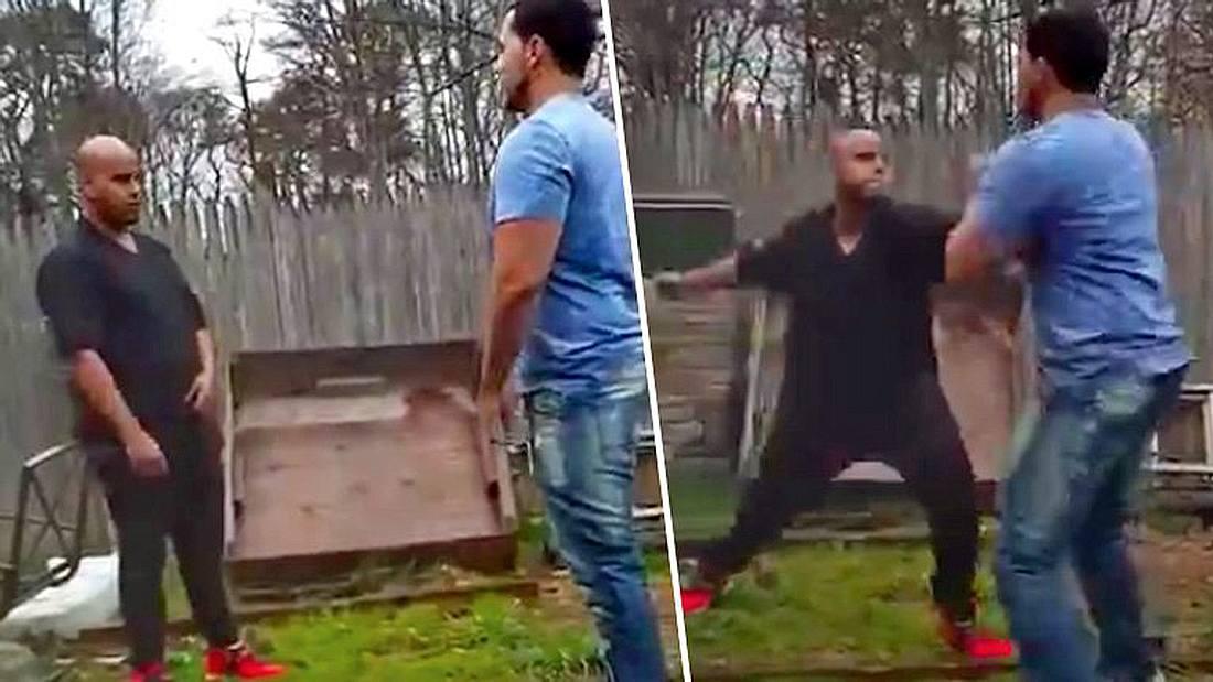 Ein vorlauter Bodybuilder wird in einem Street Fight ausgeknockt