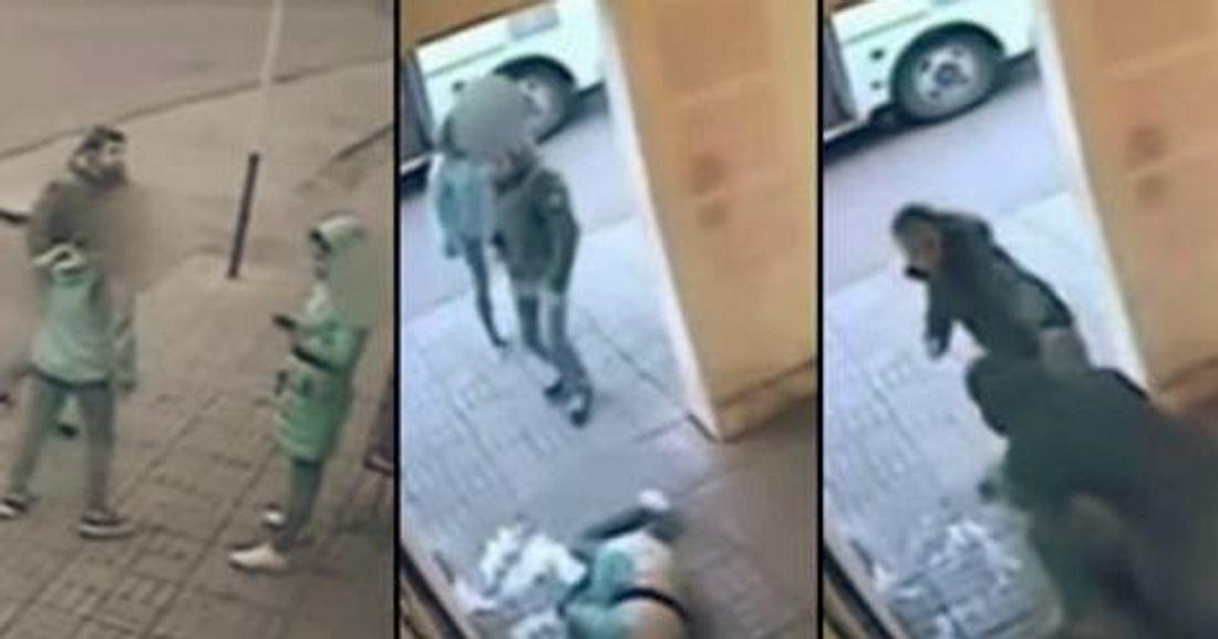 Bilder aus einer Überwachungskamera filmen, wie ein Mann eine Frau attackiert, bis ein weiterer Mann eingreift